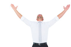 Handsome businessman cheering with arms up Stock Image