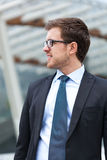 Handsome businessman in the city Royalty Free Stock Photos