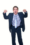 Handsome businessman with clenched fists Stock Photo