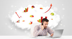 Handsome businessman with cloud in the background containing col Royalty Free Stock Photography