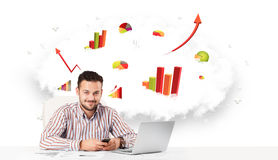Handsome businessman with cloud in the background containing col Stock Image