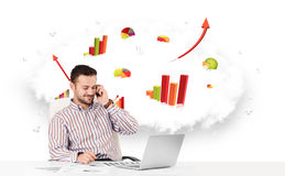 Handsome businessman with cloud in the background containing col Stock Images