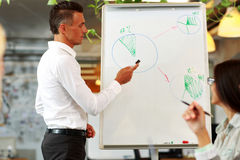 Handsome businessman explaining graph Royalty Free Stock Images