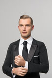 Handsome businessman in fashionable suit in studio Royalty Free Stock Photography