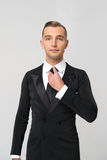 Handsome businessman in fashionable suit in studio Stock Photography
