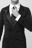 Handsome businessman in fashionable suit in studio Stock Photos