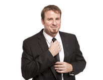 Handsome businessman fixes tie Stock Photo