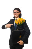 Handsome businessman with flower and brief case Royalty Free Stock Photography