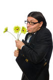 Handsome businessman with flower and brief case Royalty Free Stock Image