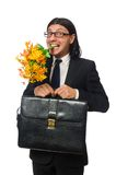 Handsome businessman with flower and brief case Royalty Free Stock Photo
