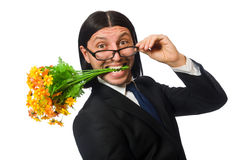 Handsome businessman with flower and brief case Stock Photos