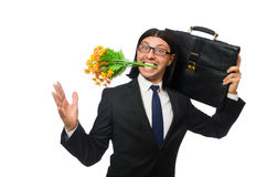Handsome businessman with flower and brief case Stock Images