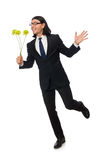 Handsome businessman with flower isolated on white Royalty Free Stock Image