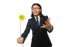 Handsome businessman with flower isolated on white Stock Photo