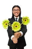 Handsome businessman with flower isolated on white Stock Photography