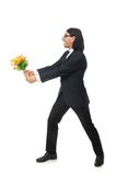 Handsome businessman with flower isolated on the Stock Image