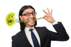 Handsome businessman with flower isolated on white Royalty Free Stock Photography