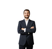 Handsome businessman with folded hands Royalty Free Stock Images