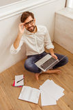 Handsome businessman with gadget Royalty Free Stock Photo