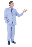 Handsome businessman gesturing with hands Royalty Free Stock Images