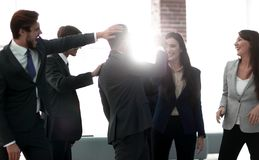 Businessmen are congratulating their successful sales. royalty free stock photo