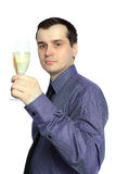 Handsome businessman with a glass of champagne Stock Photography