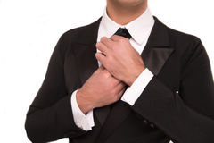 Handsome businessman or groom in fashionable suit isolated on white Royalty Free Stock Image