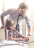 Handsome businessman and his daughter Stock Photo