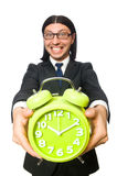 Handsome businessman holding alarm clock isolated Stock Image