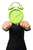 Handsome businessman holding alarm clock isolated Royalty Free Stock Images