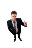 Handsome businessman holding big pencil. Royalty Free Stock Image