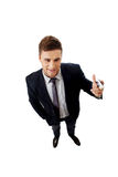 Handsome businessman holding big pencil. Royalty Free Stock Photo