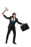 Handsome businessman holding hammer and case Stock Images