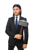 Handsome businessman holding hammer isolated on Stock Images