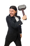 Handsome businessman holding hammer isolated on Stock Photo