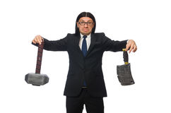 Handsome businessman holding hammer isolated on Stock Image