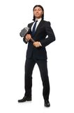 Handsome businessman holding hammer isolated on Royalty Free Stock Image