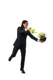 Handsome businessman holding spring flowers Royalty Free Stock Photography