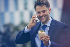 Handsome businessman holding wrapped sandwich while talking on mobile phone Stock Images