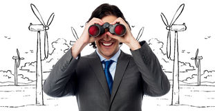 Handsome businessman hunting success Royalty Free Stock Image