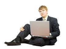 Handsome businessman with laptop Stock Photos