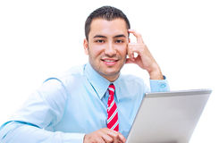 Handsome businessman with laptop. studio shot Royalty Free Stock Photo