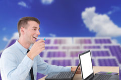 Handsome businessman on meeting Stock Images