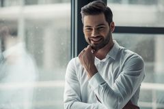 Handsome businessman in office. Handsome businessman is looking at camera, touching his chin and smiling while standing in office Royalty Free Stock Images