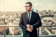 Handsome businessman outdoors Stock Images