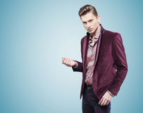 Handsome businessman over the blue background Royalty Free Stock Images