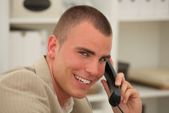 Handsome businessman on the phone Royalty Free Stock Photo