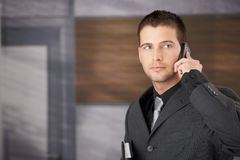 Handsome businessman on phone Royalty Free Stock Photos