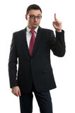 Handsome businessman pointing up with his finger Royalty Free Stock Photography
