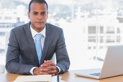 Handsome businessman posing at his desk Royalty Free Stock Images